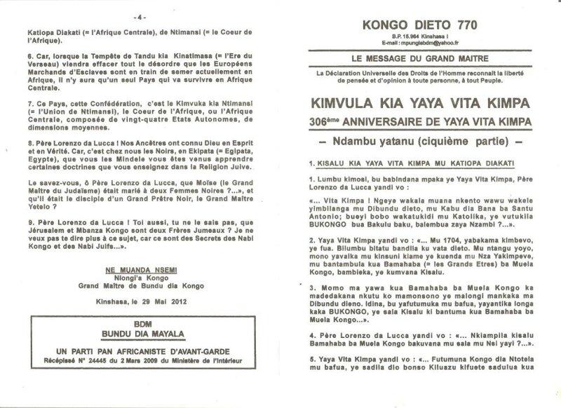 MISSION DE YAYA VITA KIMPA a