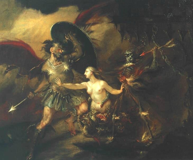 Hogarth 1735-40-Satan Sin and Death-d'après Milton