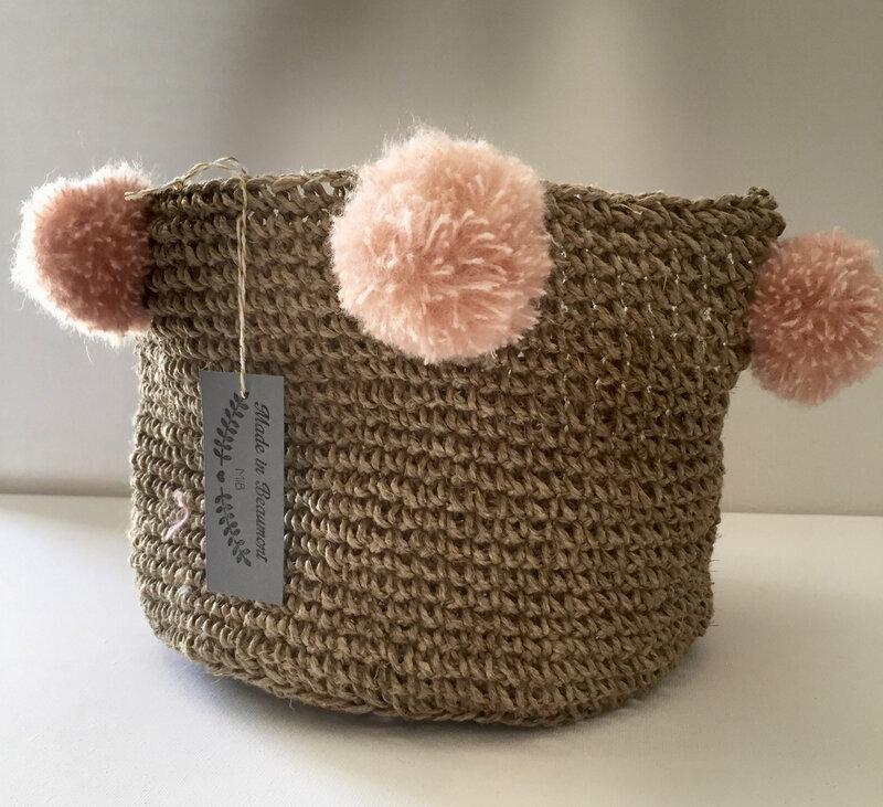 panier, crochet, ficelle de lin, pompon, rose poudre, made in beaumont