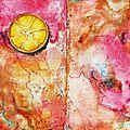 #14 - turquoise, fuchsia, jaune et rouille
