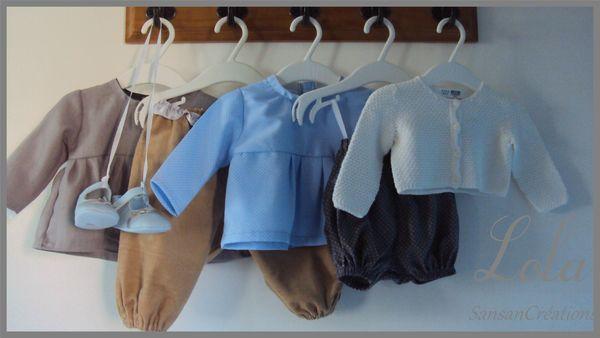 Ens Pantalon Tunique courte bleu ciel 3-6 Mois (1)