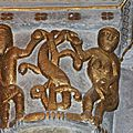 Adam et Eve mangent la pomme et couvrent leur nudité