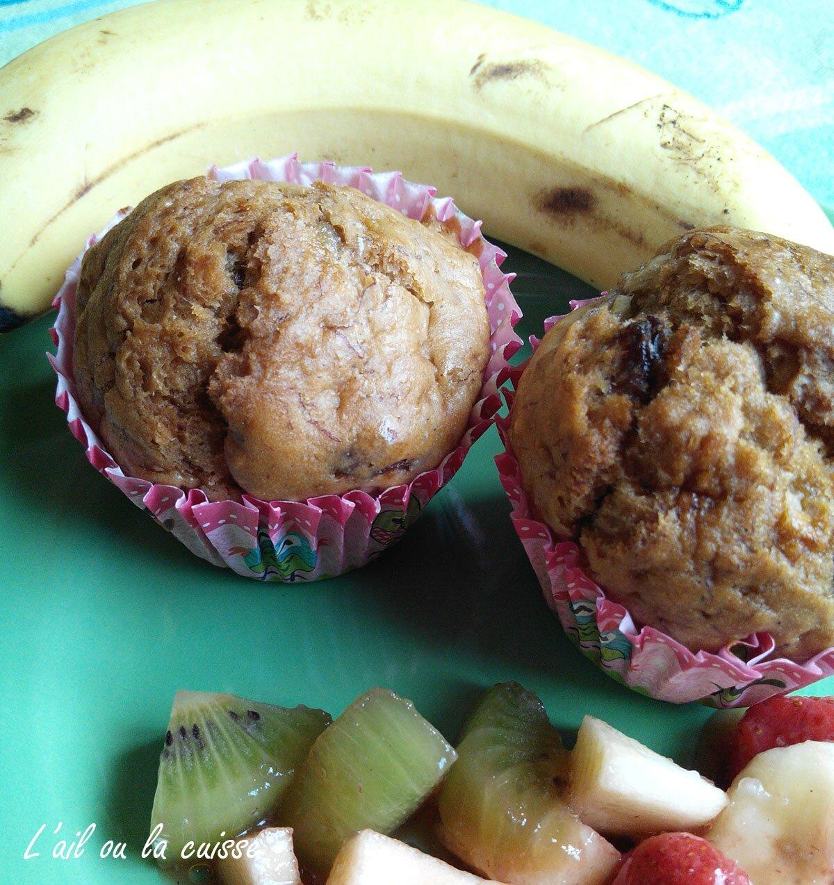 Muffins bananes, raisins secs & sirop d'érable