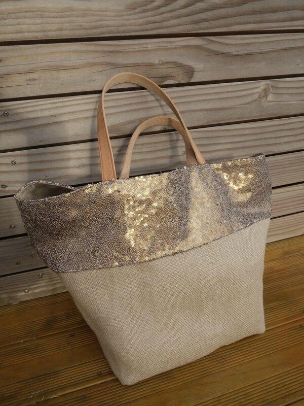 grand sac cabas tote bag r alis en gros lin couleur naturel bord en sequins doubl toile. Black Bedroom Furniture Sets. Home Design Ideas