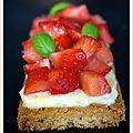 Tartelettes fraises-basilic sur sablé breton
