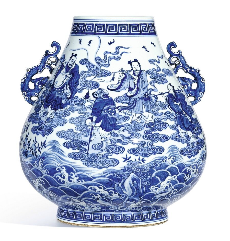 The top 20 chinese ceramics sold in 2016 by sothebys alainruong an extremely fine and rare large blue and white eight immortals vase hu seal mark and period of qianlong 1736 1795 sold 44440000 hkd 5729649 reviewsmspy
