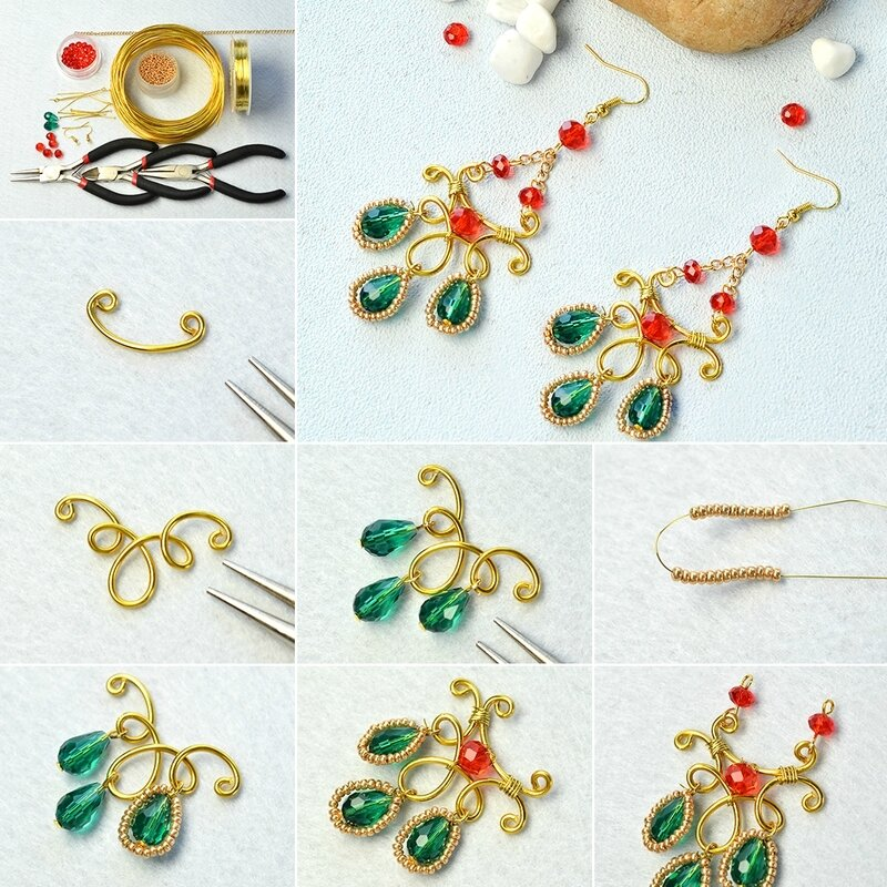 1080-How-to-Make-a-Pair-of-Golden-Wire-Wrapped-and-Glass-Bead-Drop-Earrings-with-Golden-Seed-Beads