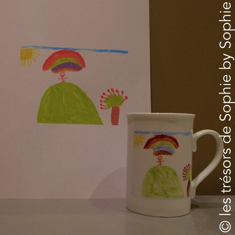 Porcelaine peinte à la main mug reproduction _dessin d'enfant_ multicolore © les trésors de Sophie by Sophie