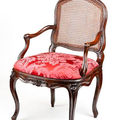 A french 18th century louis xv beechwood caned fauteuil à la reine. by henri armand, paris