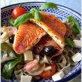 Salade estivale aux parfums de provence, rougets grillés à la plancha
