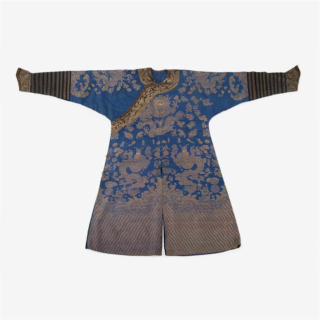 A Chinese brocade summer robe in blue, 19th century