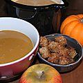 Velouté de châtaignes, potimarron et pommes: réchauffer le début de l'automne!
