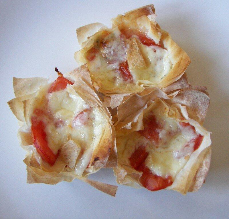 Tartelettes filo/tomates et morbier