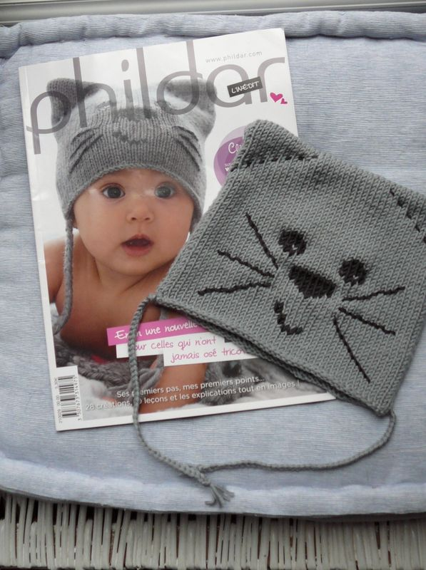 modele tricot bonnet chat phildar