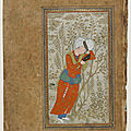 Detached album folio; recto: youth reading; verso: folio of poetry, 16th century. bukhara, safavid period. uzbekistan