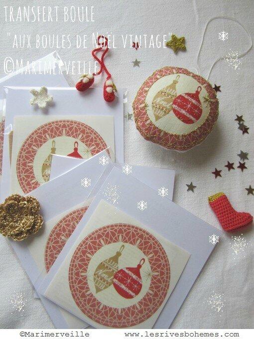 pochette transfert boule de Noël Vintage marimerveille