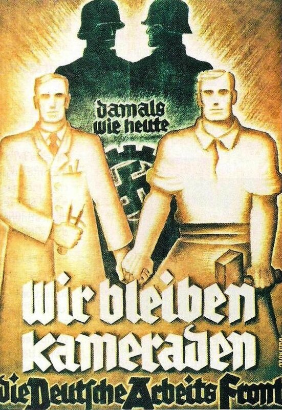affiche mouvement socialiste nazisme - front allemand du travail