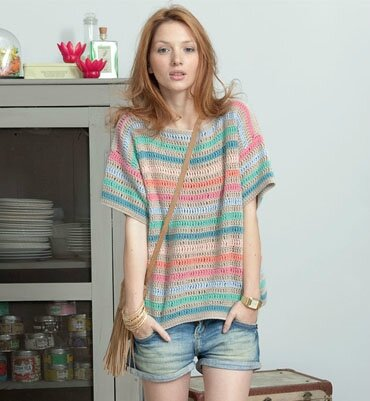 pull manches courtes phildar tons pastels