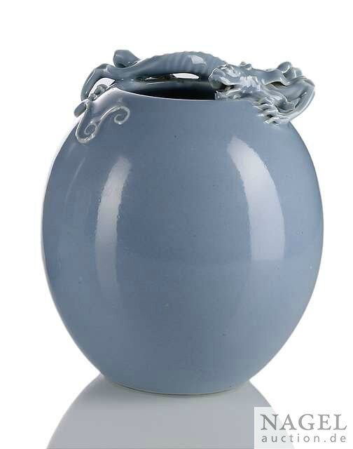 A 'clair-de-lune'-glazed ovoid vase with chilong, China, underglaze blue Yongzheng seal mark, Qing dynasty