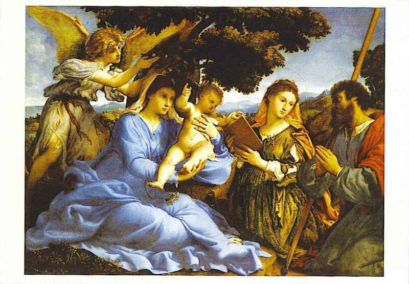 CPM Vierge à l´enfant Ste Catherine d´Alexandrie St Thomas de Lorenzo Lotto