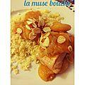 *tajine de poulet au miel, gingembre et amandes*