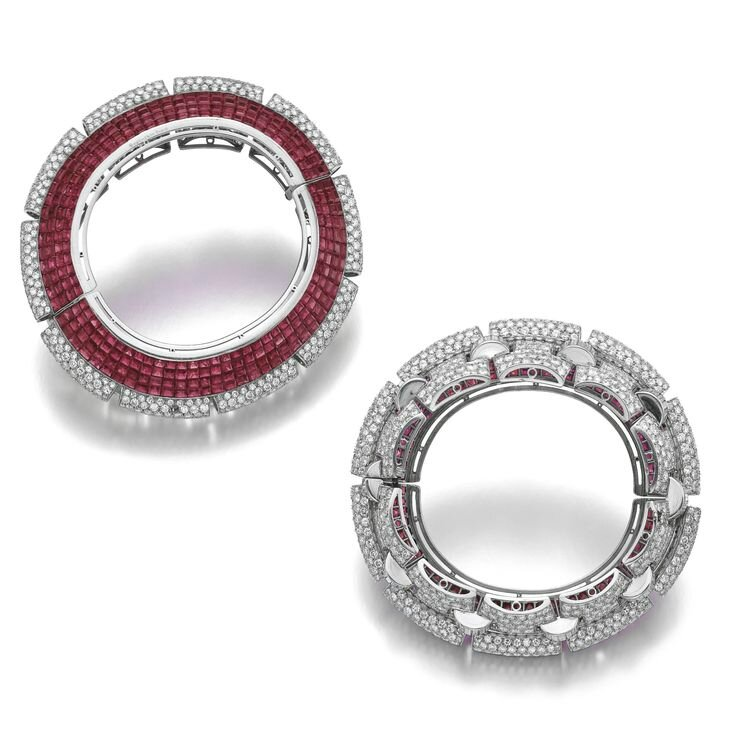Important ruby and diamond bangle-bracelet, Boucheron, circa 1935