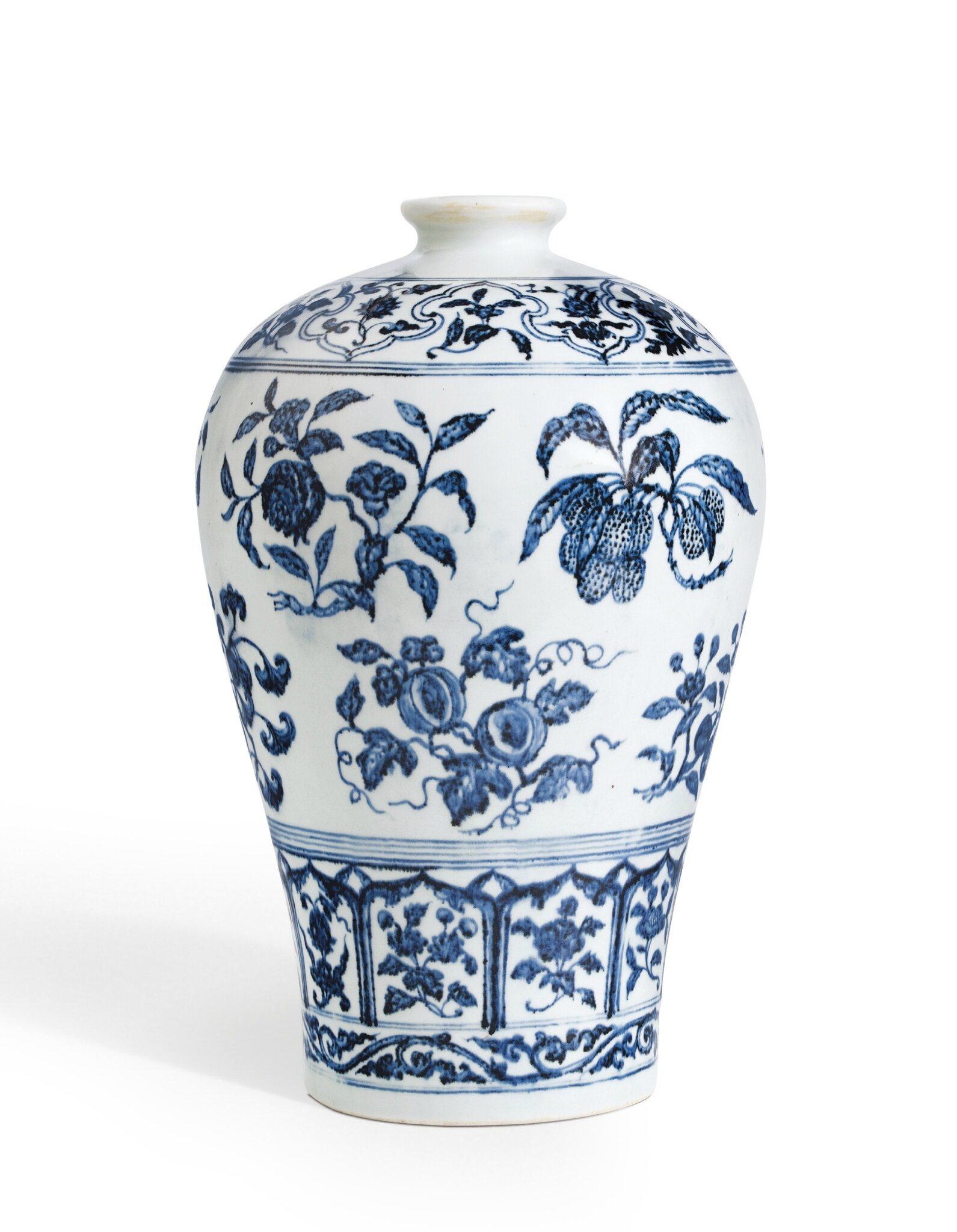 an outstanding blue and white vase with fruit sprays meiping ming dynasty yongle period