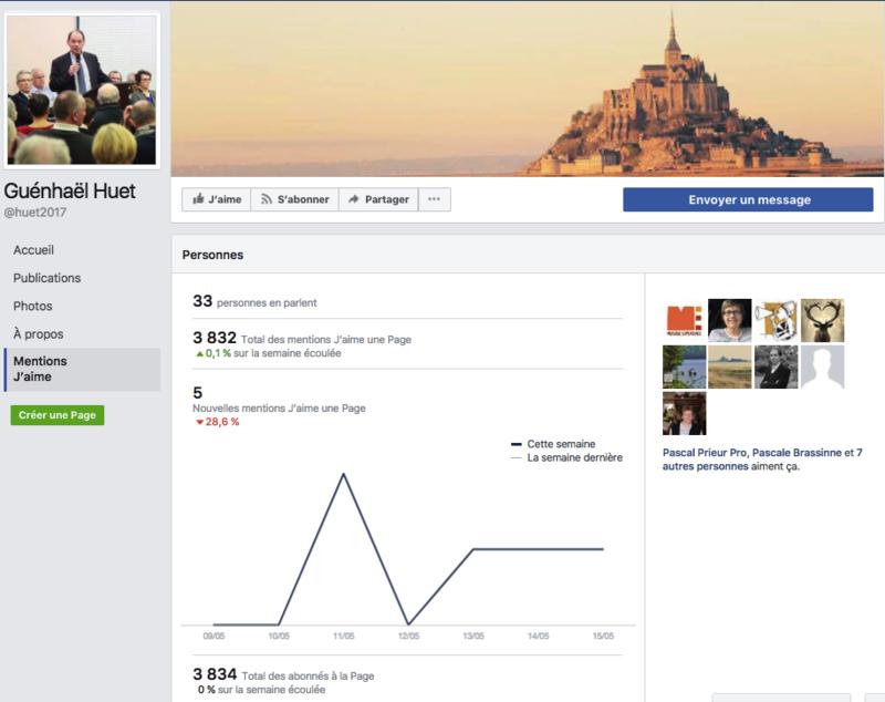 page facebook député candidat Guénhaël Huet statistiques législatives 2017 15_05_2017 20h00