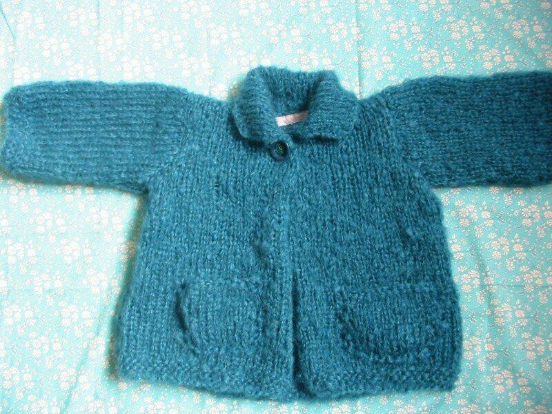 paletot en mohair turquoise, laine et modèle la droguerie