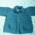 paletot en mohair turquoise, laine et modle la droguerie