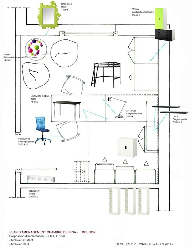PLAN D'AMENAGEMENT CHAMBRE DE NINA _ proposition mobilier - Dame la Lune_Véronique decourty