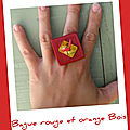 Bague rouge orange bois (B93)