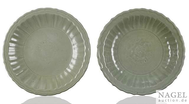 Two Longquan celadon-glazed plates, China, early Ming dynasty