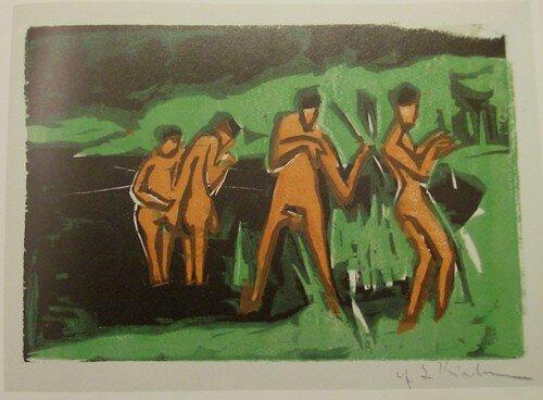 Ernst Ludwig Kirchner, Baigneurs se lançant des roseaux, 1910