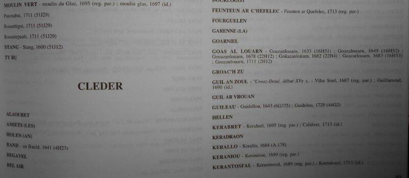 Dictionnaire topographique Deshayes Cleder