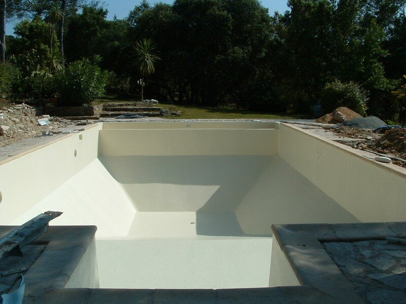 Photo 091 photo de etanch it piscine panneaux m talliques b ton ancien liner r novation for Piscine en resine