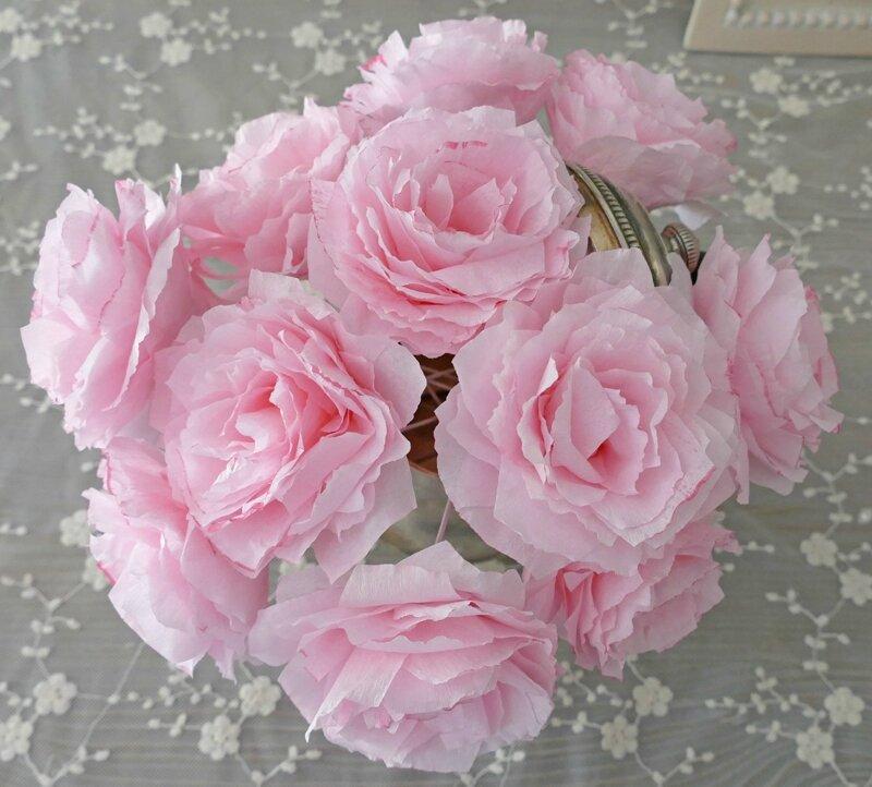 Roses ros en papier perle de lumi res cr ation d 39 abat jour et d cora - Creation abat jour papier ...