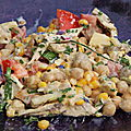 Salade pois chiches, poulet, tomates, asperges, etc...