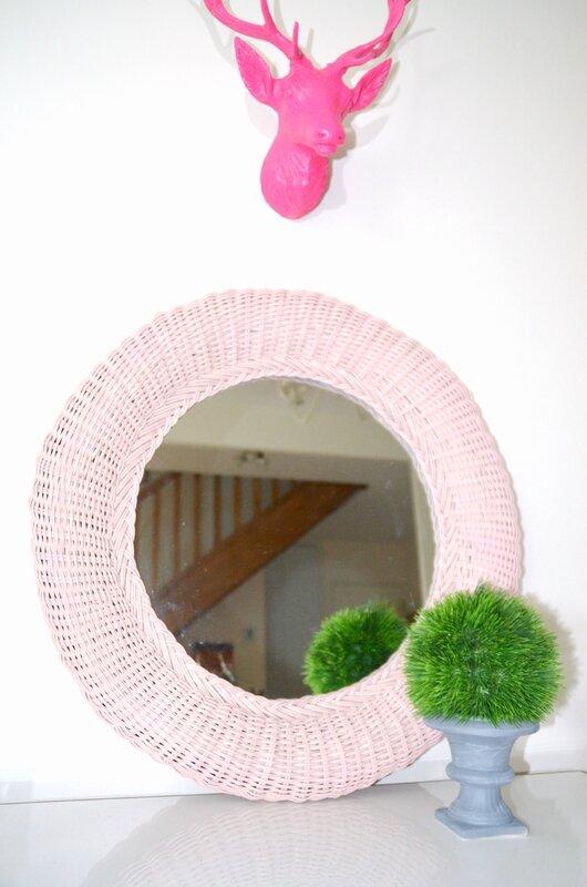 miroir rotin rose 1