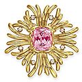 A pink tourmaline, diamond and gold maltese cross brooch, by verdura