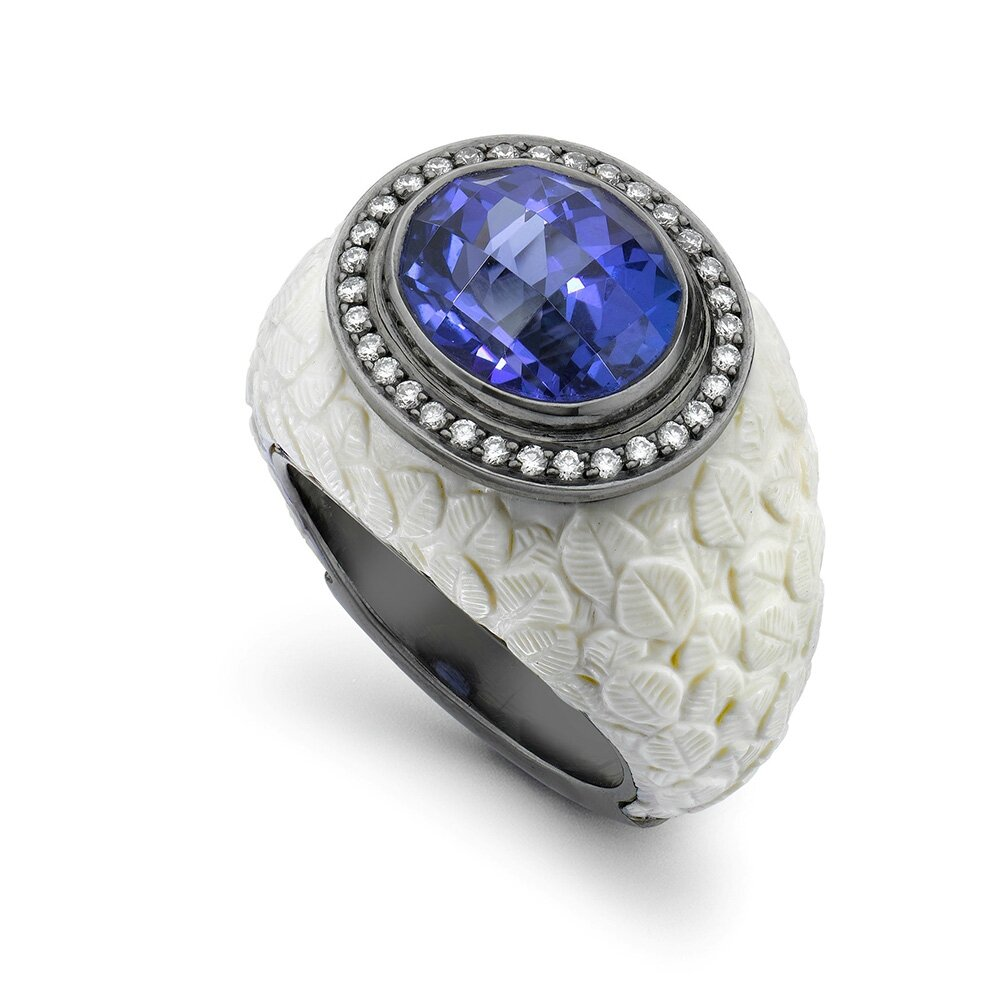 si rings in certified h tanzanite aaa igi and ct peacock g ring gold diamond iliana