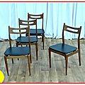 4 chaises design scandinave teck années 1960