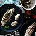 Filets de bar grillés, vinaigrette a la clémentine & quenelles de chou-fleur au parmesan végétal