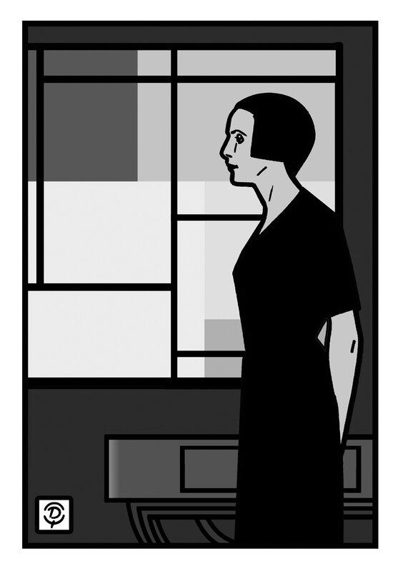 Delius dessinateur portrait de Nelly Van Doesburg Composition XXIV Dessin monochrome