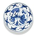 A blue and white dish, ming dynasty, 16th century