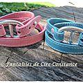 1.Bracelet cuir double tour rose et bleu
