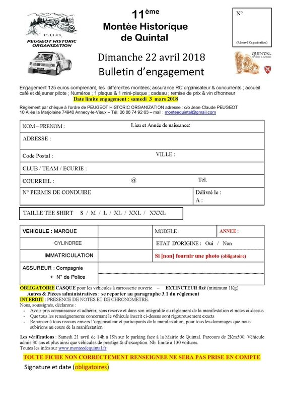 Bulletin d'engagement 2018-autos