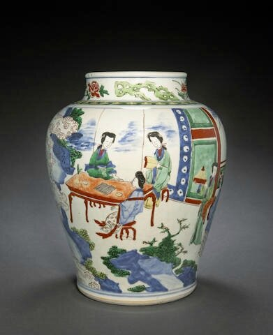 A wucai-decorated jar with beauties in a garden, Shunzhi period
