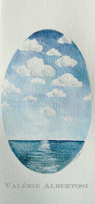 aquarelle mer plage marine valerie albertosi