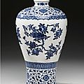 A Blue And White Soft-Paste Vase (Meiping). Qing Dynasty, 19th Century 